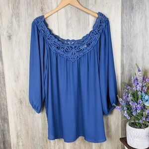 Eyeshadow Country Blue Peasant Blouse 2X